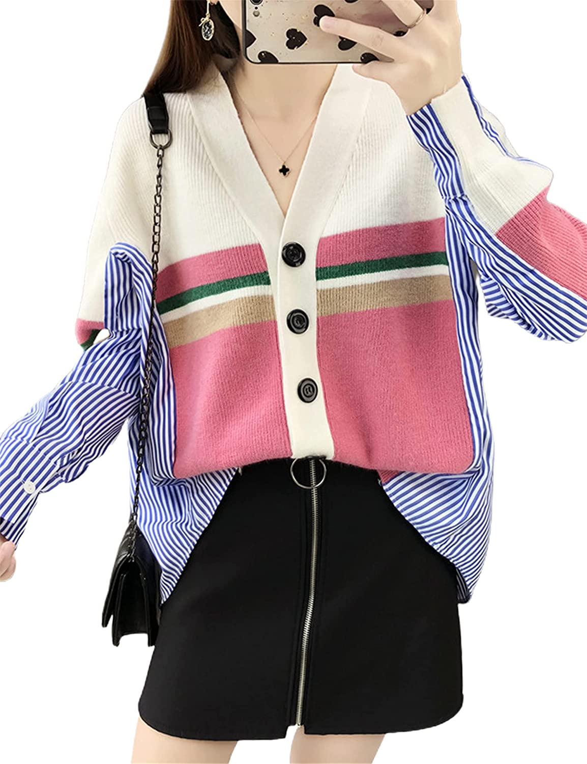 Uaneo Womens V Neck Long Sleeve Button Down Stripe Color Block Knit Cardigan Shirt Blouse (Pink-OneSize)