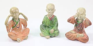 We pay your sales tax 3 Feng Shui Hear See Speak No Evil Happy Face Buddha Monks Figurines Statues