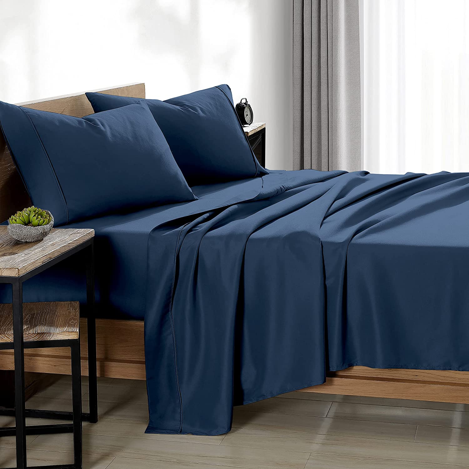 Bare Home Twin XL Sheet Set - College Dorm Size - Premium 1800 Ultra-Soft Microfiber Twin Extra Long Sheets - Double Brushed - Twin XL Sheets Set - Deep Pocket - Bed Sheets (Twin XL, Dark Blue): Home & Kitchen