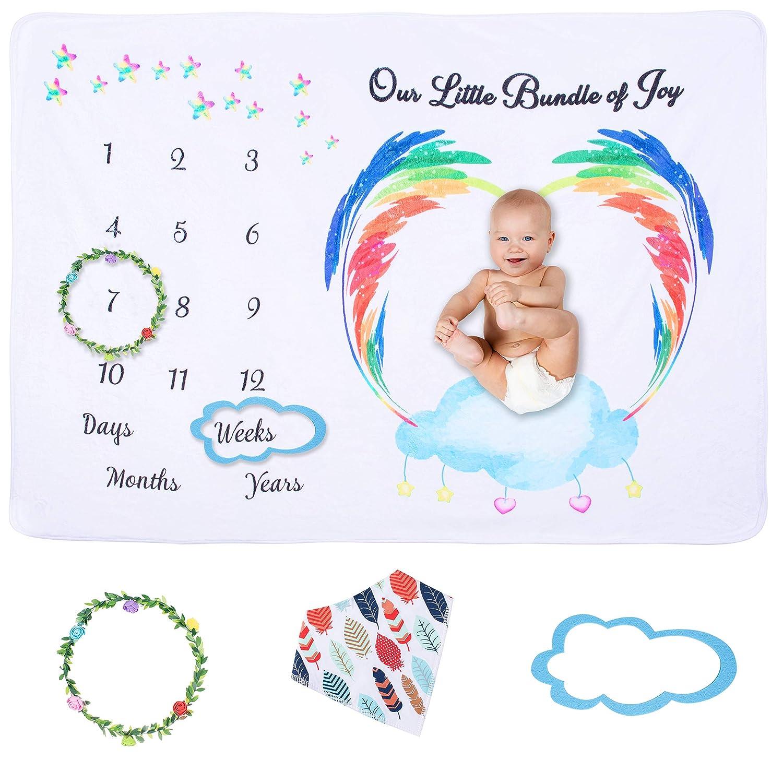 Buy Baby Milestone Blankets Girl Boy   Bib, Wreath, Frame, Gift ...