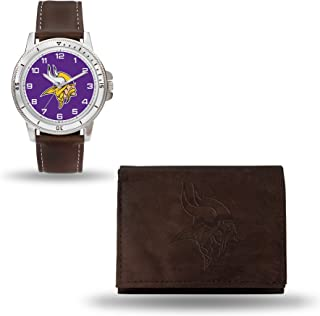 Rico Industries NFL Men's Watch and Wallet Set (Brown)