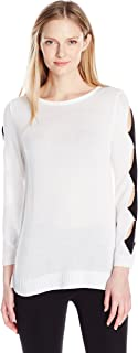 NY Collection Women's Plus Size Long Boat Neck Pull Over with Cut Out Detail Along Sleeve