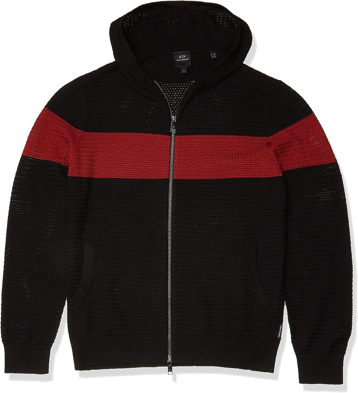 AX Armani Exchange Men's Bold Stripe Zip Up Hooded Knit Cardigan