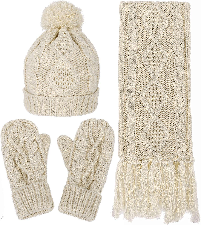 Verabella Women Fashionable Men's 3 in 1 Knit Max 89% OFF Scarf Hat Winter Beanie Warm