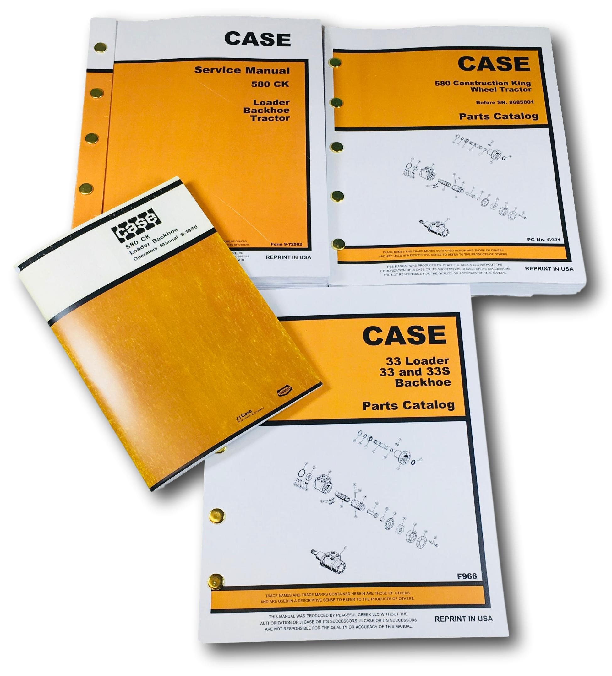 case 580 amazon comcase 580 ck tractor loader backhoe service, parts and operators manual set serial numbers up