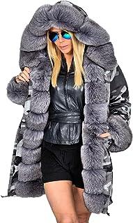 32e19d213c7f Aofur Womens Hooded Faux Fur Lined Warm Coats Parkas Anoraks Outwear Winter  Long Jackets