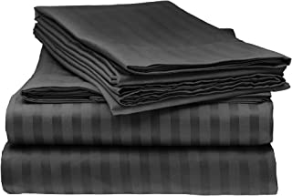 Bella kline Bedding 1800 Series 4 pc Bed Sheet Set with Pillowcases Hypoallergenic, 1 Soft Silky Luxurious Feel, Fitted and Flat Sheets Lifetime - King Size, Black