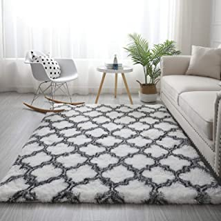 Modern Shaggy Extra Soft Area Rugs Fluffy Plush Carpets Floor mat Indoor for Living Room, Bedroom (200 x 300cm, Diamond Wh...