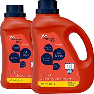 Mountain Falls Ultra Phosphate-Free Liquid Laundry Detergent for All Washers, 2 x 100 Fluid Ounces, 128 Loads