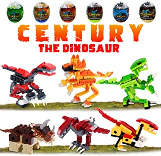 6 Pack Dinosaur Building Blocks in Jumbo Easter Eggs for Kids, Jurassic Dinosaur Eggs Toys Playset for Boys Girls Easter Basket.