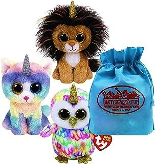 Ty Beanie Boos Fairytale Unicorns Ramsey (Lioncorn), Enchanted (Owlicorn) & Heather (Caticorn) Gift Set Bundle with Bonus Matty's Toy Stop Storage Bag - 3 Pack