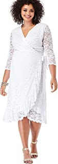 Women's Plus Size Tiered Eyelet Dress with Lace Trim