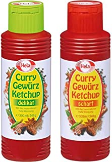 Hela 2 Flavor Curry Gewurz Ketchup Mild and Hot 300 ml each From Germany