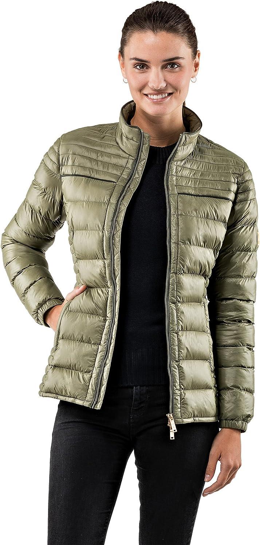 Vincenzo Boretti Damen Steppjacke Slim-fit tailliert Übergangs-Jacke leicht dünn weich warm gefüttert für Frühling Herbst modern elegant - EIN Style für Business und Freizeit Oliv