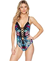 Kenneth Cole - Tropical Tendencies Push-Up Lace-Up Mio One-Piece