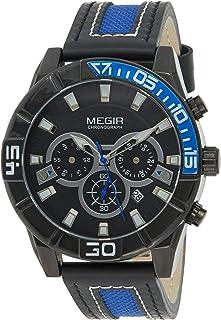 ساعة كوارتز للرجال من ميجر بشاشة عرض كرونوغراف وسوار من الجلد - طراز 2066G