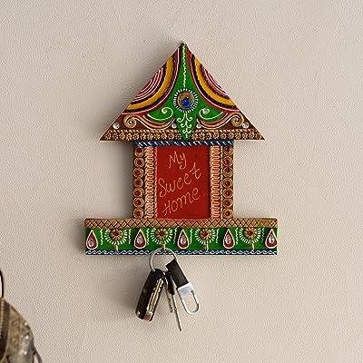 eCraftIndia Hut Shape Wooden and Papier-Mache Wall Hanging (23.36 cm x 2.54 cm x 26.41 cm)