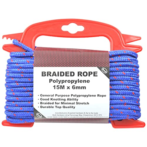 Merriway BH03166 Braided Blue Polypropylene Rope on Hand Reel, 15M x 6mm (48.3/4 ft x 1/4 inch)