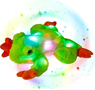 Glow Guards 12'' Light up Stuffed Frog Jungle Animals LED Soft Plush Toy with Night Lights Glow in The Dark Christmas Birthday for Toddler Kids