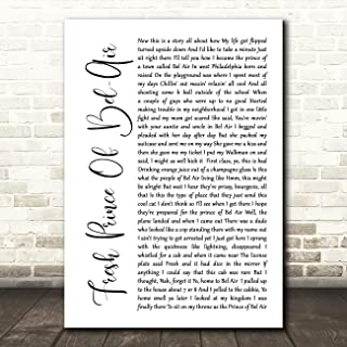 Fresh Prince of Bel-Air White Script Song Lyric Gift Present Poster Print