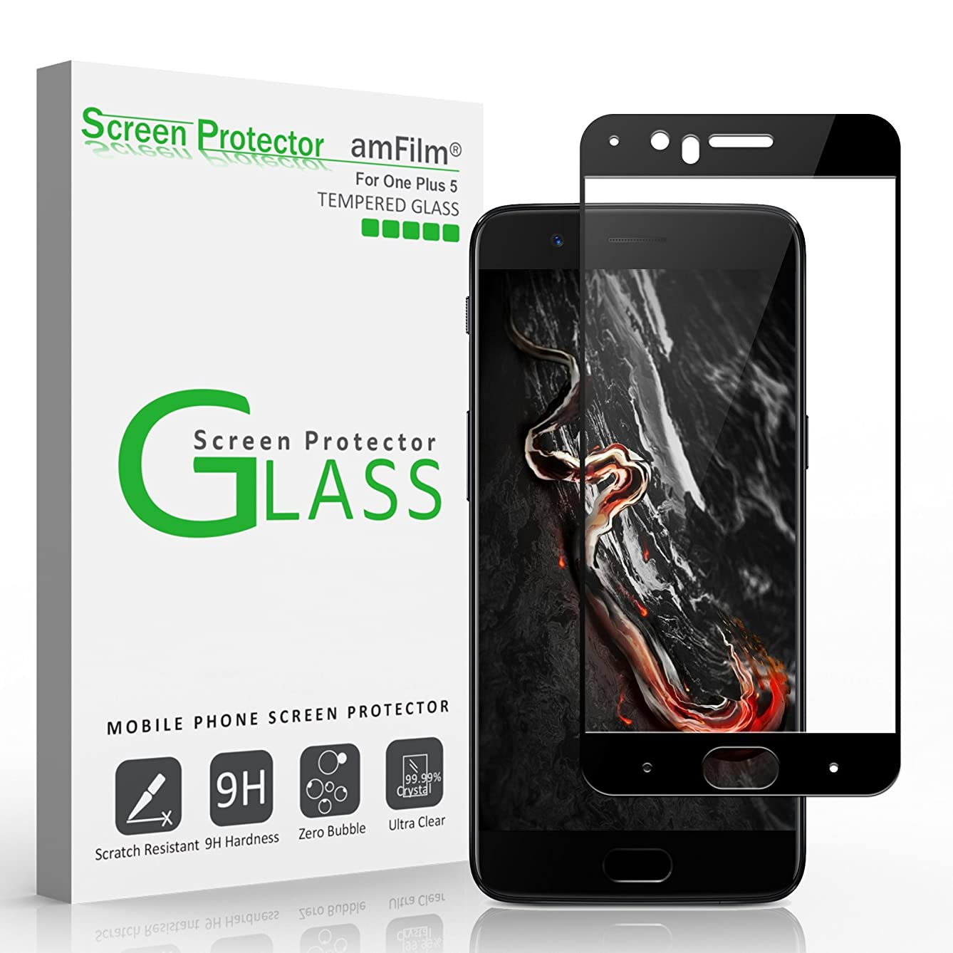 amFilm OnePlus 5 Screen Protector Glass (Case Friendly)(Updated Version), Bye-Bye-Bubble OnePlus Five Tempered Glass Screen Protector 2017