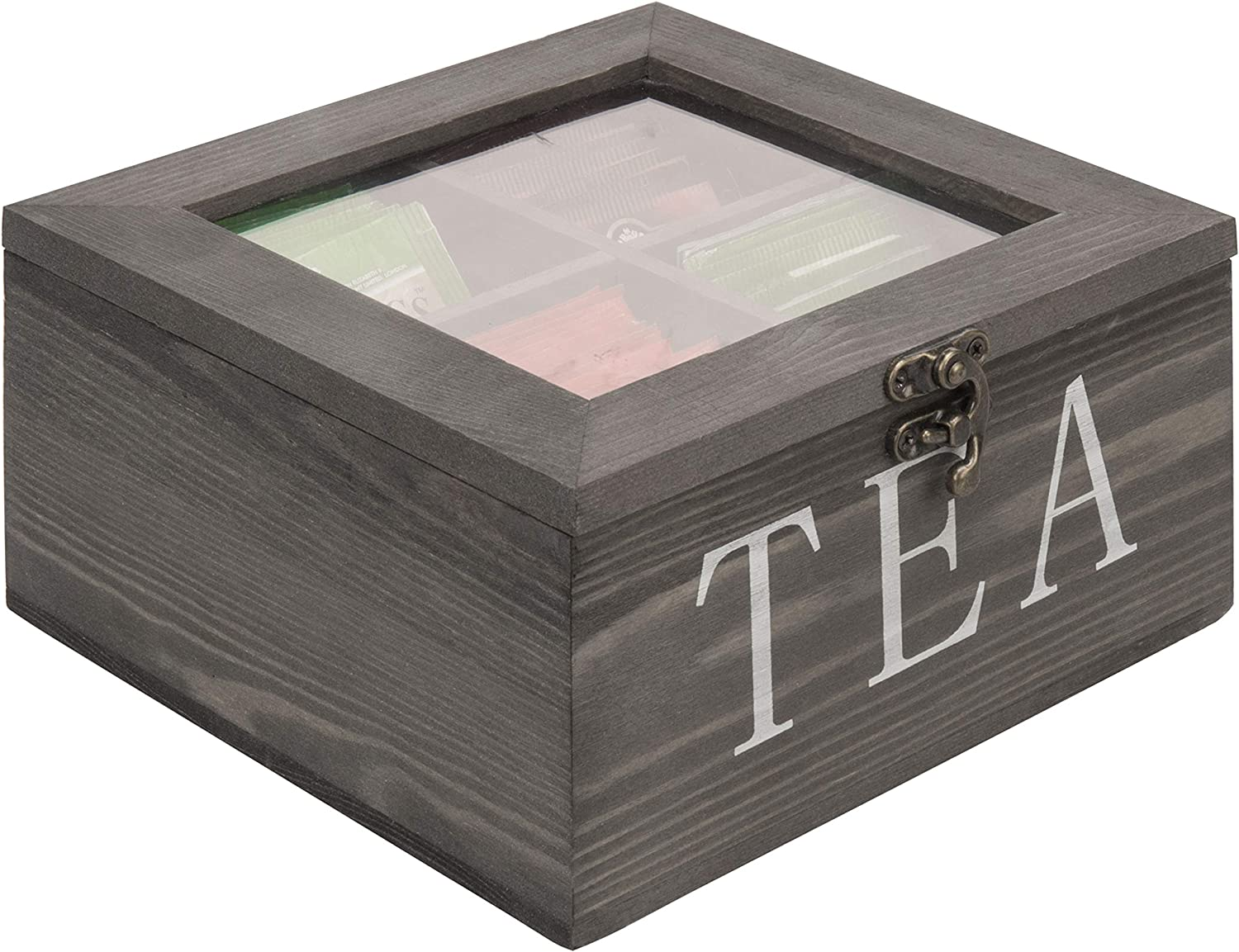 MyGift 4-Slot Max 83% OFF Rustic Grey Wood Tea with Clear Low price Bag Storage Chest