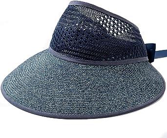 Sombrero de Paja Plegable para Mujer, Sombrero de Verano, Sombreros de pPaja con ala Ancha, Lazo para Sombrero de Paja Ajustable 55-59cm
