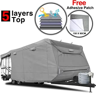 RVMasking Heavy Duty 5 Layers Top Travel Trailer RV Cover, Fits 24'1