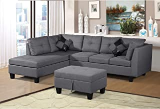 Modern Style Home Upholstered Linen Fabric Sofa Set - Gray
