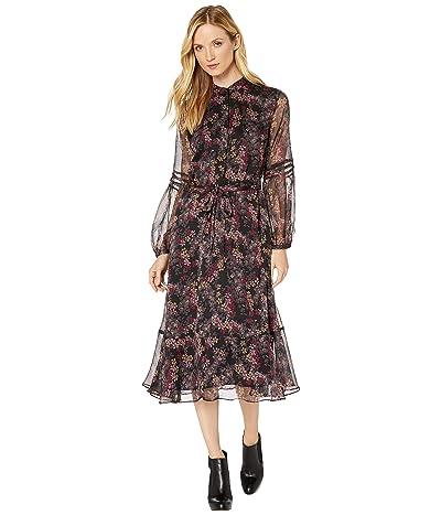 LAUREN Ralph Lauren Tie-Belt Dress (Polo Black Multi) Women