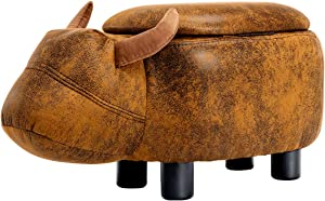 GUTEEN Upholstered Ride-on Toy Seat Storage Ottoman Footrest Stool with Vivid Adorable Animal-Like Features(Brown Buffalo)