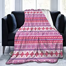 GULTMEE Ultra-Soft Micro Fleece Soft and Warm Throw Blanket,Geometric Abstract Snowflake Pattern European Ornamental Knitting Design, Perfect for Bed, Sofa, 50