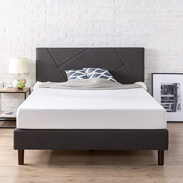 Zinus Upholstered Geometric Paneled Platform Bed Mattress Foundation Easy Assembly Strong Wood Slat Support Queen