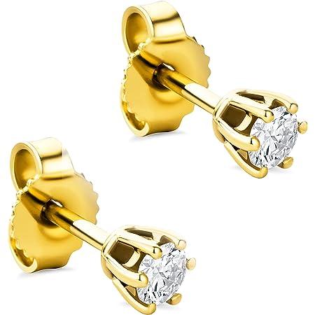 Orovi Pendientes para mujer con diamantes de oro amarillo de 14 quilates (585) y diamantes brillantes de 0,25 quilates, hechos a mano en Italia