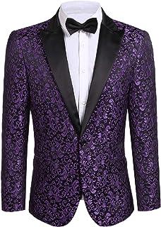 JINIDU Men`s Floral Party Dress Suit Stylish Dinner Jacket Wedding Blazer Prom Tuxedo