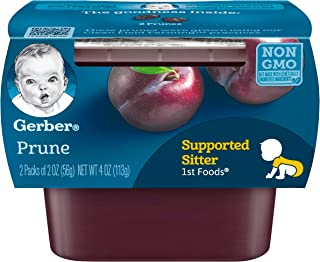 Gerber Purees 1st Foods Prune Baby Food Tubs ,(Pack of 8),2 count 2 oz tubs.