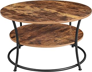 VASAGLE Table Basse, Table de Salon, Buffet Bas, 2 Niveaux, avec Étagère de Rangement, Montage Facile, Structure en Métal,...