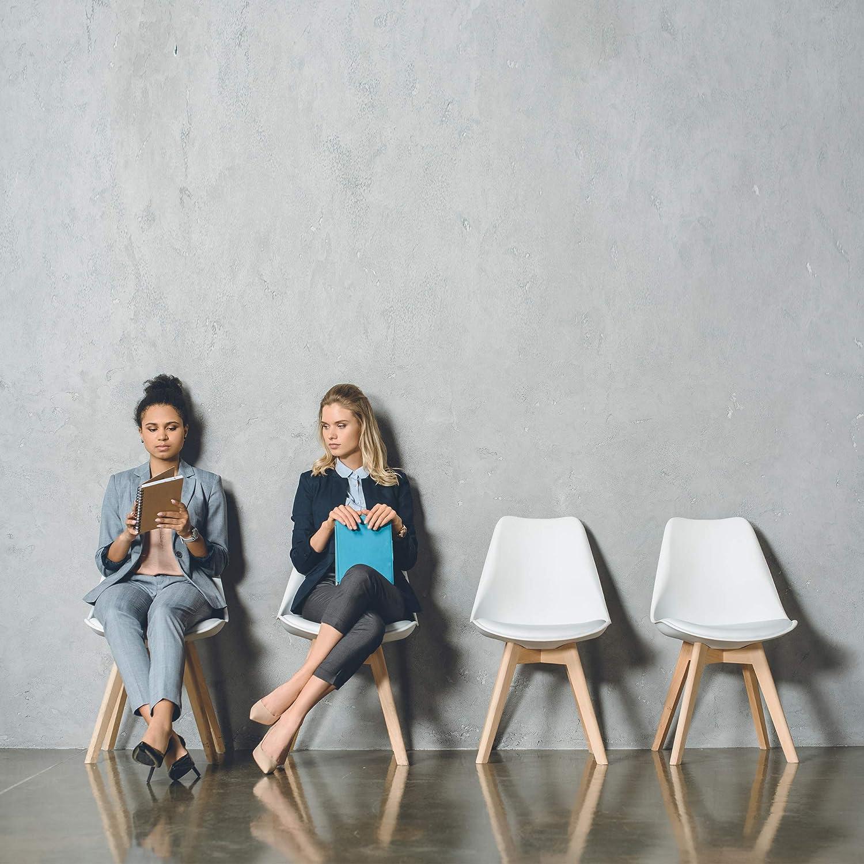 VS Venta-stock Lot de 2 Chaises Klara Noir tapissées en Cuir synthétique avec Pieds Bois Gris