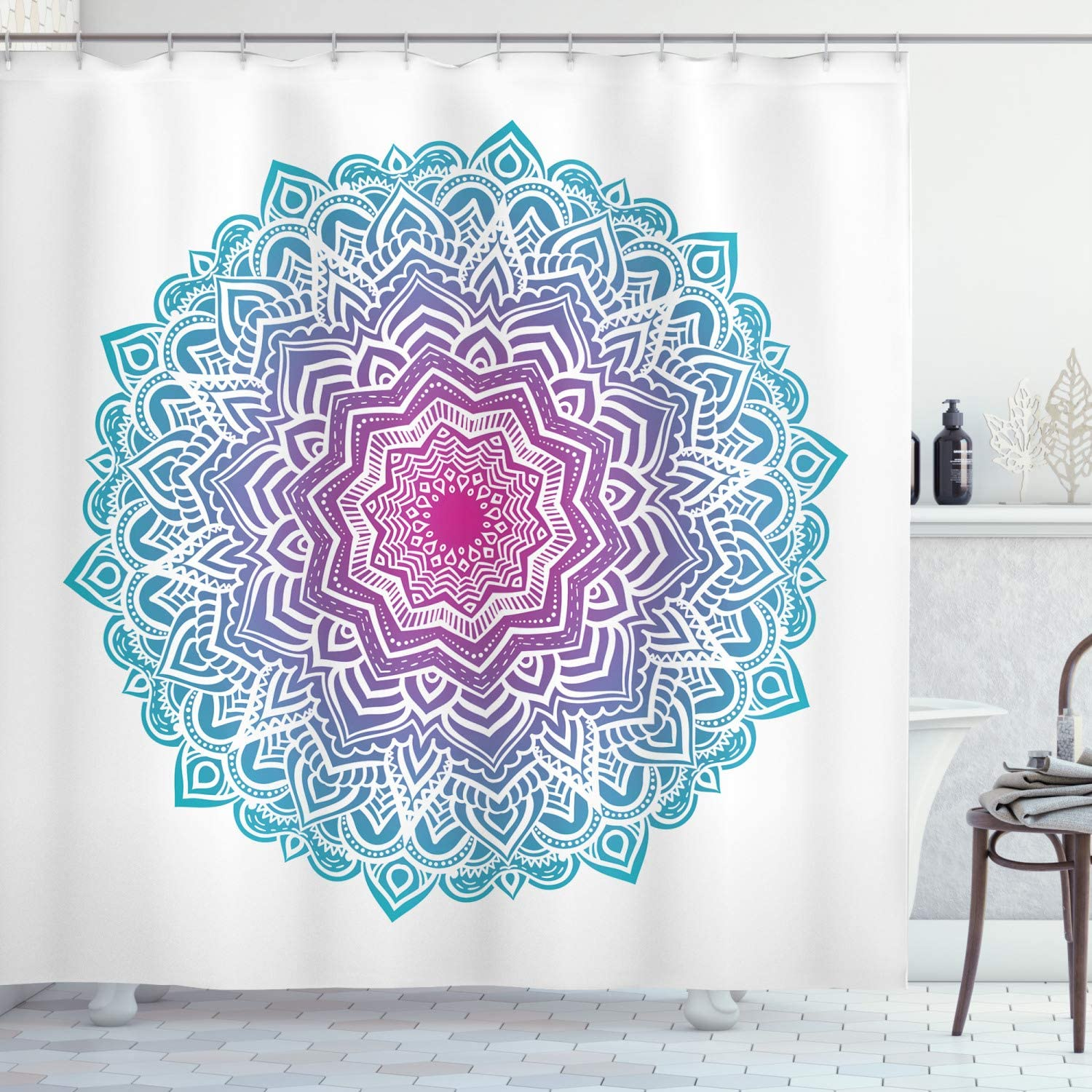 Ambesonne Mandala Shower Curtain Round Floral Starry Pattern With Soft Aqua Color Meditation Theme Cloth Fabric Bathroom Decor Set With Hooks 70 Long White Pink Blue Home Kitchen Amazon Com
