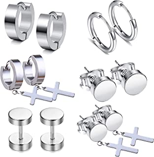 LDier Stainless Steel Earrings for Men - 6 Pairs Stainless Steel Cross Dangle Stud Earrings Hoop Earrings, Prefect for Hea...