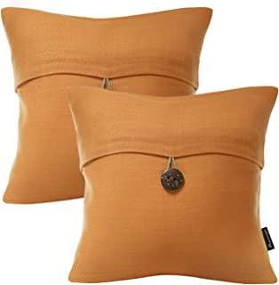 Phantoscope Pack of 2 Farmhouse Throw Pillow Covers Button Vintage Linen Decorative Pillow Cases for Couch Bed and Chair Orange, 20 x 20 inches 50 x 50 cm