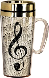 Spoontiques 17242 Music Insulated Travel Mug, 14 ounces, Multi