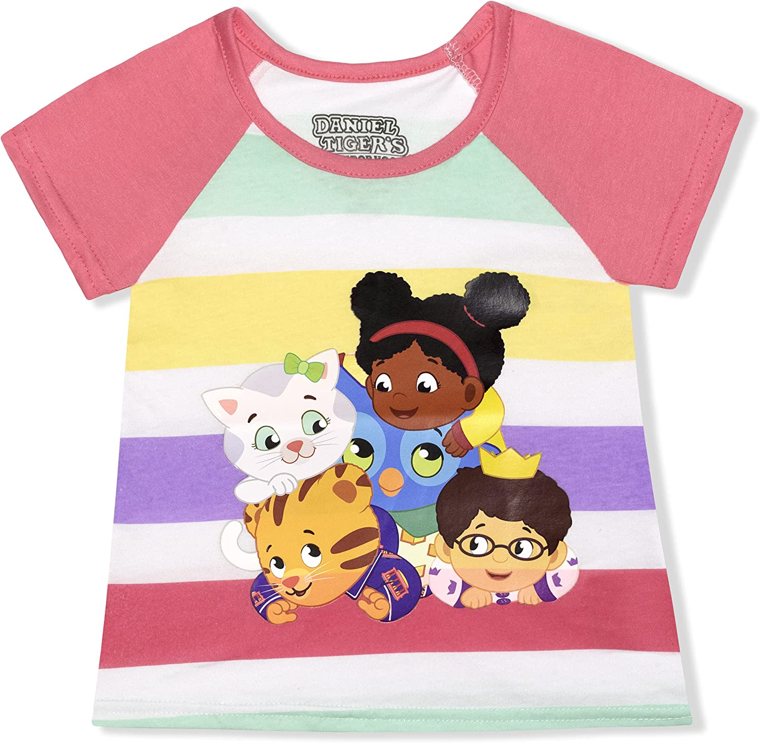 Daniel Tiger Girl's Short Sleeves Tee Shirt for Kids, Loose Fit Top, Pink Stripes, Size 2T
