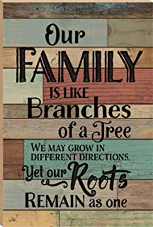 P. GRAHAM DUNN Our Family is Like Branches of A Tree Multicolor 24 x 16 Faux Distressed Wood Barn Board Wall Mounted Sign