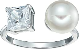 9mm Round Pearl and CZ Ring on Sterling Silver