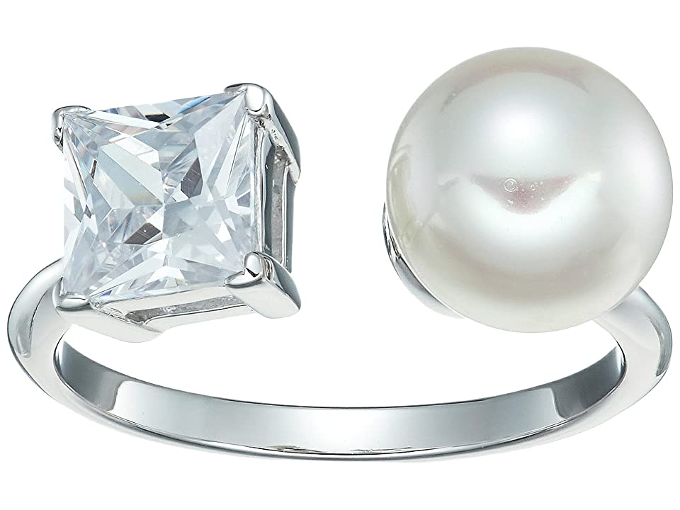 Majorica - Majorica 9mm Round Pearl and CZ Ring on Sterling Silver