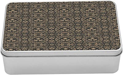 """Ambesonne Classical Metal Box, Oriental Rounds Curves with Pigeons and Ornamental Floral Motifs Repetition, Multi-Purpose Rectangular Tin Box Container with Lid, 7.2"""" X 4.7"""" X 2.2"""", Dark Sepia Tan"""