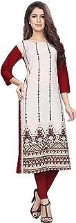 1 Stop Fashion Women's Off-White Colour Crepe Knee Long W Style Kurta/Kurti