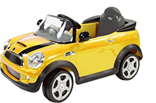 Rollplay 6V Mini Cooper Kid's Ride-On Car - For Boys & Girls Ages 3 & Up - Battery-Powered Ride On Toy - Yellow