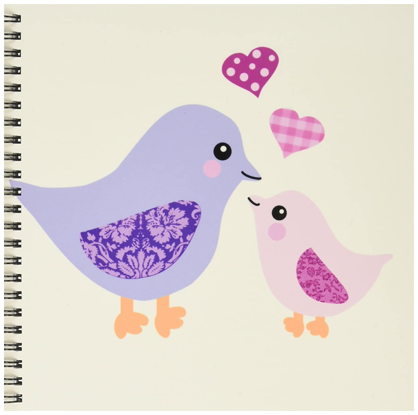 3dRose db_120280_1 Cute Purple Mom Bird and Pink Baby Chick Daughter Girl Kawaii Mother and Child Birds Mothers Day Drawing Book, 8 by 8-Inch
